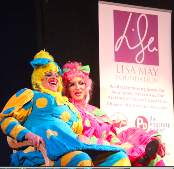 The ugly sisters promote LMF at Camberley Theatre.