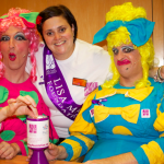 The ugly sisters donate to Lmf thanks to Jo Nation HR manager and loyal LMF volunteer.