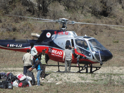 The helicopter made several trips, topping up the drug supply daily.