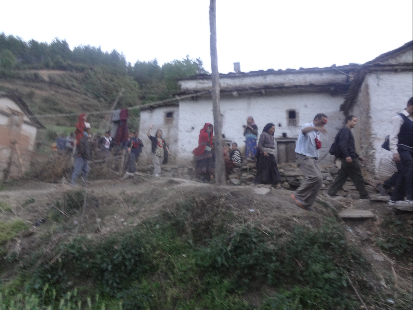 The steep descent and trek to the village.