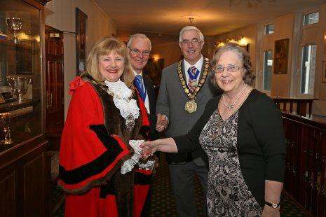 Mayor greets Mayor of Woking.