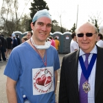 Deputy Mayor -Cllr John May started the Frimley Park Road Race in 2011. Pictured with Cardiologist Matt Fairclough